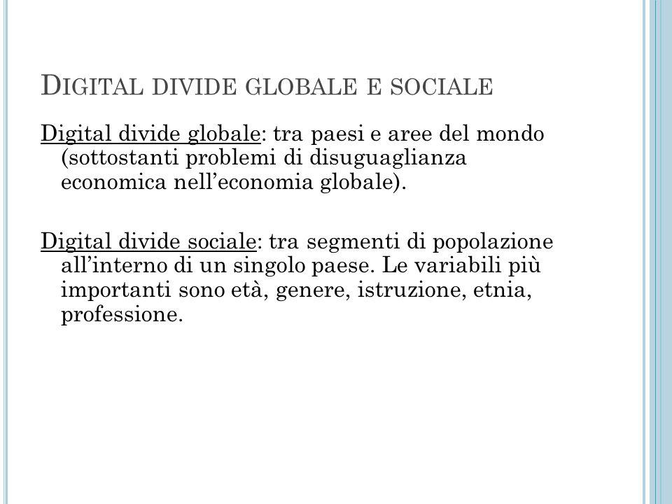 D IGITAL DIVIDE GLOBALE E SOCIALE Digital divide globale: tra paesi e aree del mondo (sottostanti problemi di disuguaglianza economica nell'economia g