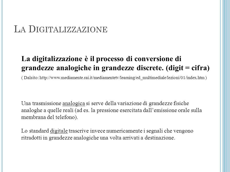 L A D IGITALIZZAZIONE La digitalizzazione è il processo di conversione di grandezze analogiche in grandezze discrete. (digit = cifra) ( Dalsito: http: