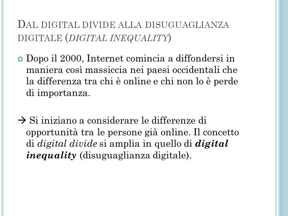D AL DIGITAL DIVIDE ALLA DISUGUAGLIANZA DIGITALE ( DIGITAL INEQUALITY ) Dopo il 2000, Internet comincia a diffondersi in maniera così massiccia nei pa