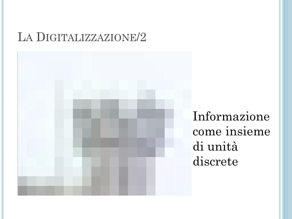 L A D IGITALIZZAZIONE /2 Informazione come insieme di unità discrete