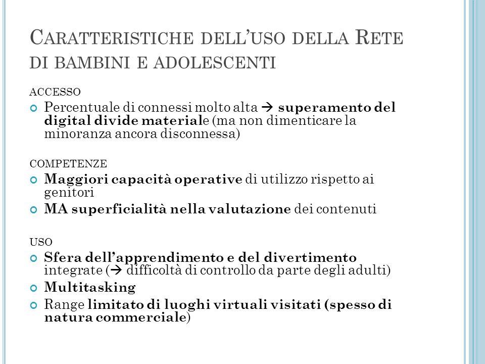 C ARATTERISTICHE DELL ' USO DELLA R ETE DI BAMBINI E ADOLESCENTI ACCESSO Percentuale di connessi molto alta  superamento del digital divide material