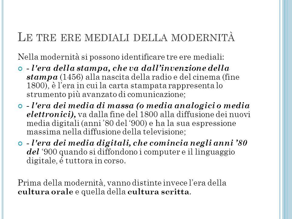 L E TRE ERE MEDIALI DELLA MODERNITÀ Nella modernità si possono identificare tre ere mediali: - l'era della stampa, che va dall'invenzione della stampa