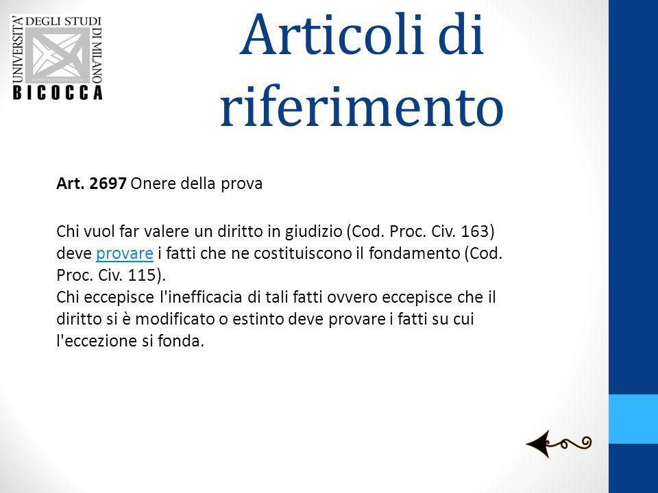 Articoli di riferimento Art. 2697 Onere della prova Chi vuol far valere un diritto in giudizio (Cod. Proc. Civ. 163) deve provare i fatti che ne costi