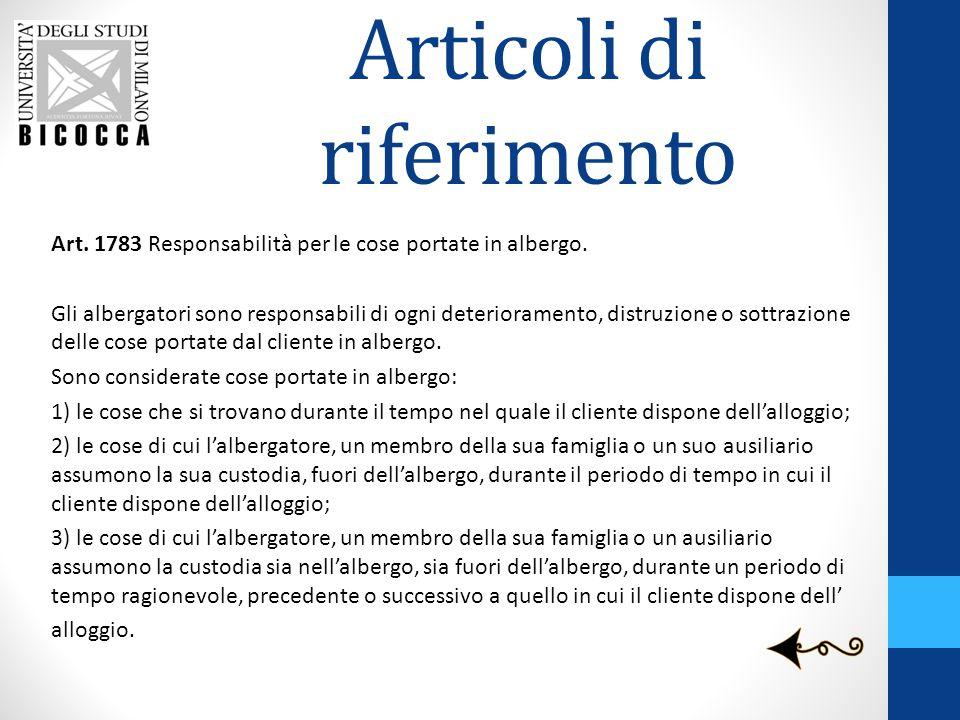 Articoli di riferimento Art.1783 Responsabilità per le cose portate in albergo.