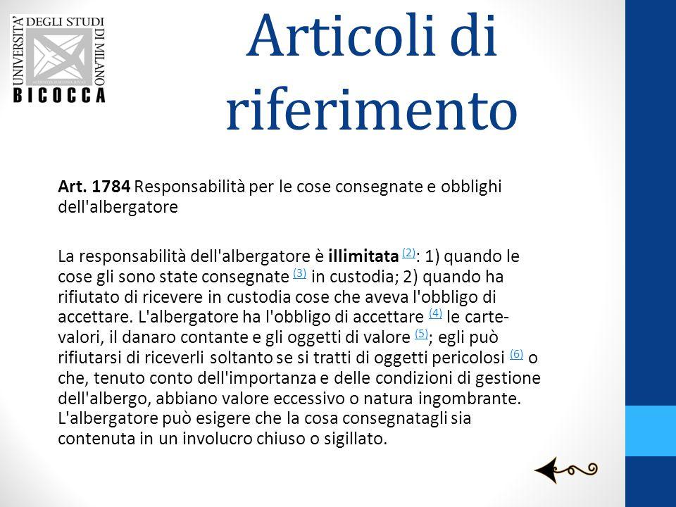 Articoli di riferimento Art. 1784 Responsabilità per le cose consegnate e obblighi dell'albergatore La responsabilità dell'albergatore è illimitata (2