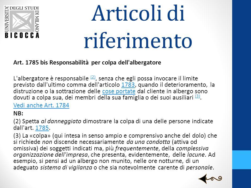 Articoli di riferimento Art. 1785 bis Responsabilità per colpa dell'albergatore L'albergatore è responsabile (2), senza che egli possa invocare il lim