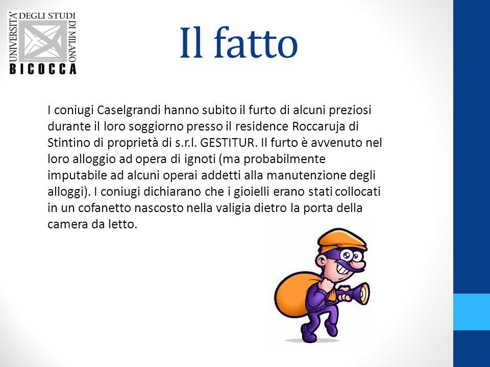 Il fatto I coniugi Caselgrandi hanno subito il furto di alcuni preziosi durante il loro soggiorno presso il residence Roccaruja di Stintino di proprietà di s.r.l.