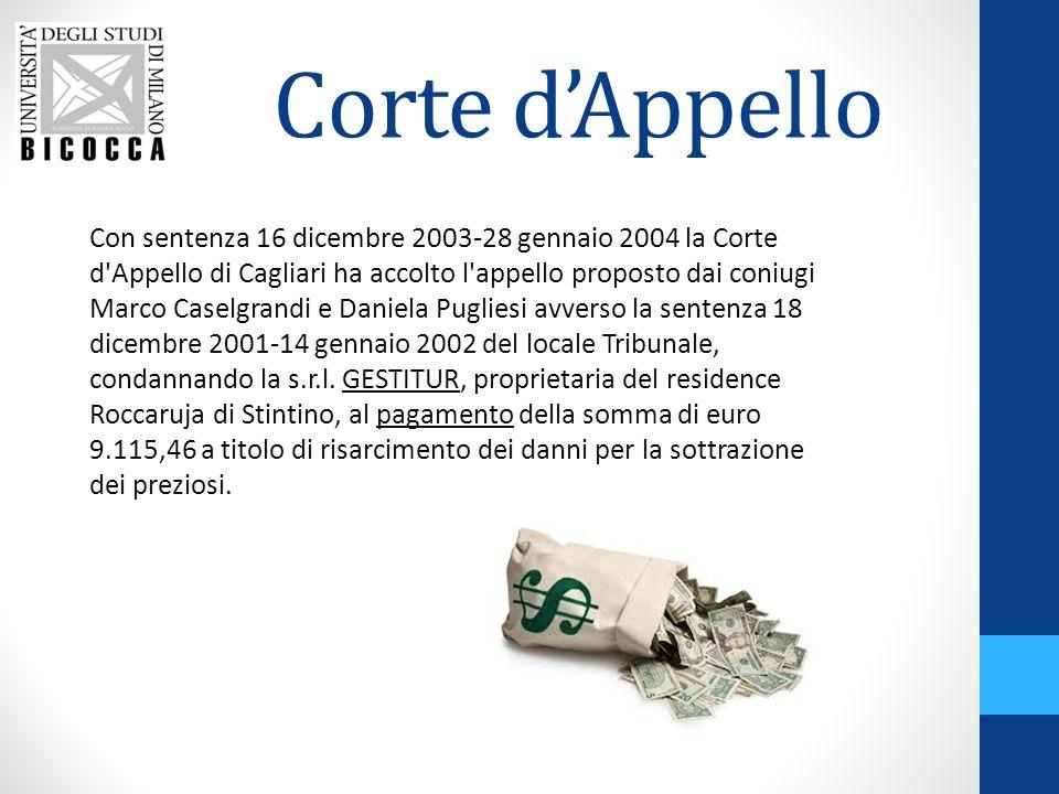 Corte d'Appello Con sentenza 16 dicembre 2003-28 gennaio 2004 la Corte d'Appello di Cagliari ha accolto l'appello proposto dai coniugi Marco Caselgran