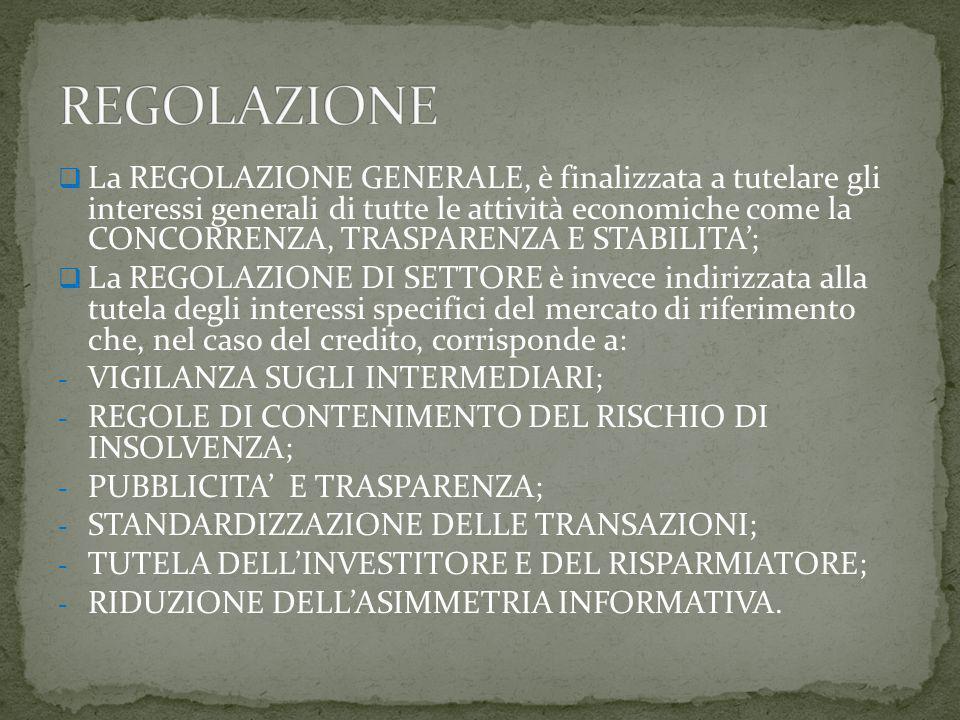  La REGOLAZIONE GENERALE, è finalizzata a tutelare gli interessi generali di tutte le attività economiche come la CONCORRENZA, TRASPARENZA E STABILITA';  La REGOLAZIONE DI SETTORE è invece indirizzata alla tutela degli interessi specifici del mercato di riferimento che, nel caso del credito, corrisponde a: - VIGILANZA SUGLI INTERMEDIARI; - REGOLE DI CONTENIMENTO DEL RISCHIO DI INSOLVENZA; - PUBBLICITA' E TRASPARENZA; - STANDARDIZZAZIONE DELLE TRANSAZIONI; - TUTELA DELL'INVESTITORE E DEL RISPARMIATORE; - RIDUZIONE DELL'ASIMMETRIA INFORMATIVA.