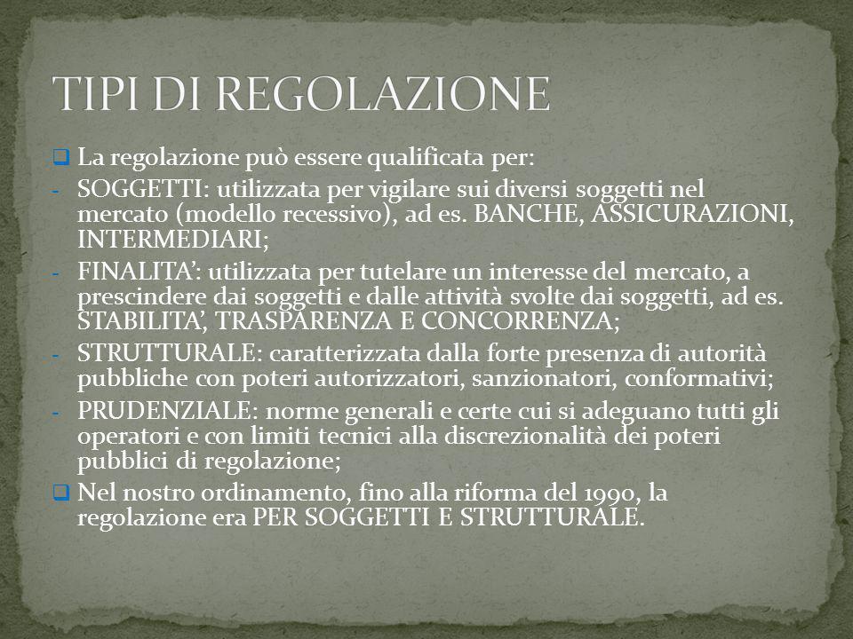  La regolazione può essere qualificata per: - SOGGETTI: utilizzata per vigilare sui diversi soggetti nel mercato (modello recessivo), ad es.