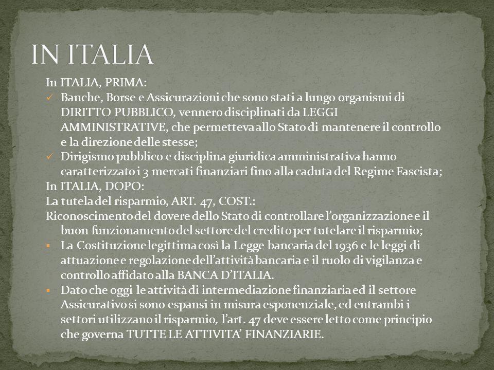 In ITALIA, PRIMA: Banche, Borse e Assicurazioni che sono stati a lungo organismi di DIRITTO PUBBLICO, vennero disciplinati da LEGGI AMMINISTRATIVE, che permetteva allo Stato di mantenere il controllo e la direzione delle stesse; Dirigismo pubblico e disciplina giuridica amministrativa hanno caratterizzato i 3 mercati finanziari fino alla caduta del Regime Fascista; In ITALIA, DOPO: La tutela del risparmio, ART.