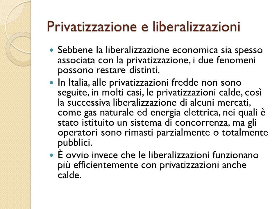 Privatizzazione e liberalizzazioni Sebbene la liberalizzazione economica sia spesso associata con la privatizzazione, i due fenomeni possono restare d
