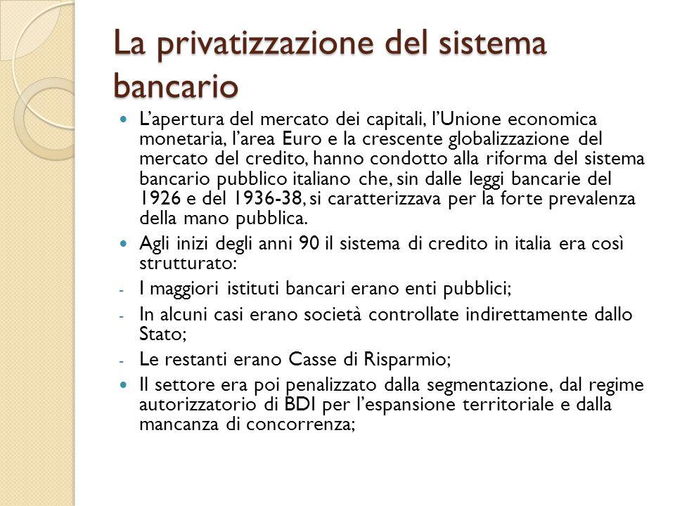 La privatizzazione del sistema bancario L'apertura del mercato dei capitali, l'Unione economica monetaria, l'area Euro e la crescente globalizzazione del mercato del credito, hanno condotto alla riforma del sistema bancario pubblico italiano che, sin dalle leggi bancarie del 1926 e del 1936-38, si caratterizzava per la forte prevalenza della mano pubblica.