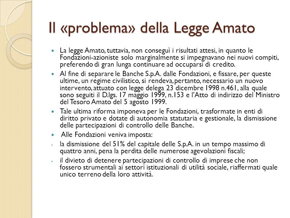 Il «problema» della Legge Amato La legge Amato, tuttavia, non conseguì i risultati attesi, in quanto le Fondazioni-azioniste solo marginalmente si imp