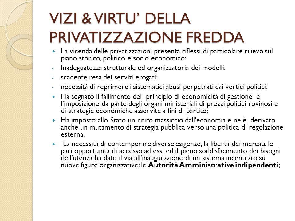 VIZI & VIRTU' DELLA PRIVATIZZAZIONE FREDDA La vicenda delle privatizzazioni presenta riflessi di particolare rilievo sul piano storico, politico e soc