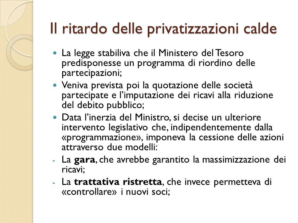 Il ritardo delle privatizzazioni calde La legge stabiliva che il Ministero del Tesoro predisponesse un programma di riordino delle partecipazioni; Ven