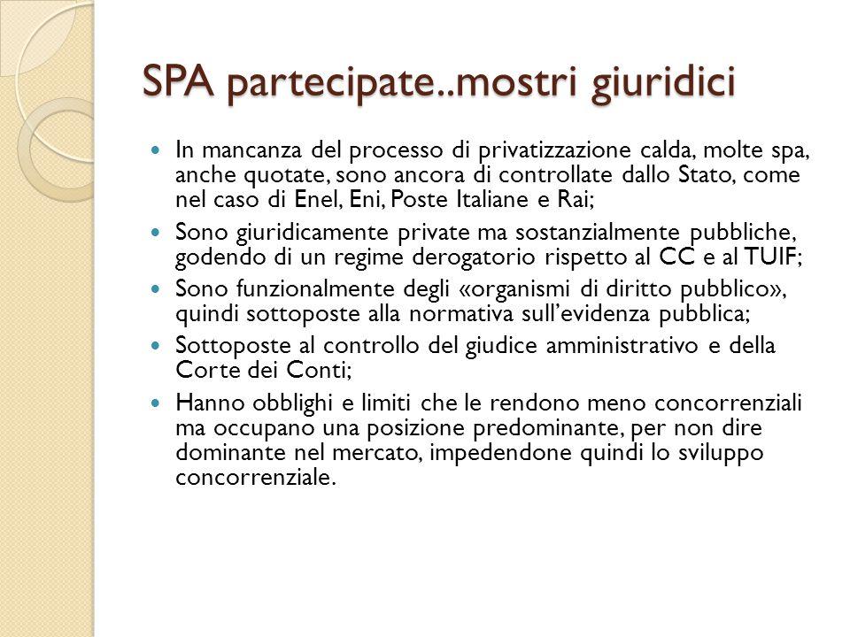 SPA partecipate..mostri giuridici In mancanza del processo di privatizzazione calda, molte spa, anche quotate, sono ancora di controllate dallo Stato,