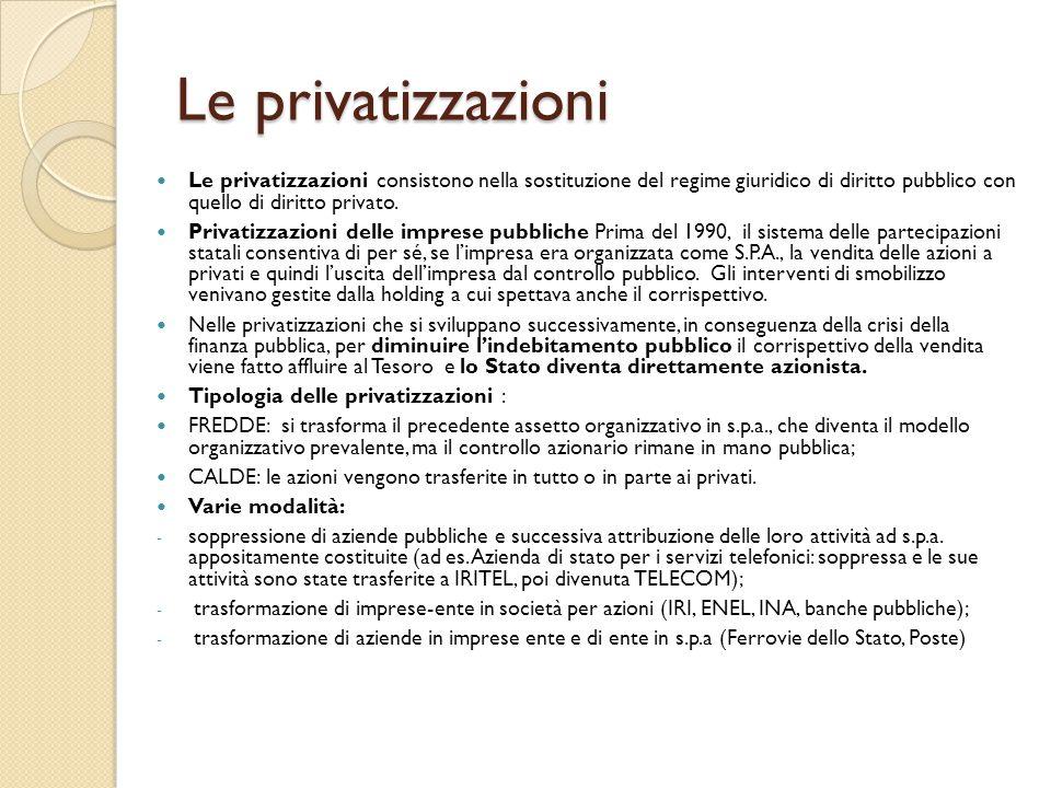 Le privatizzazioni Le privatizzazioni consistono nella sostituzione del regime giuridico di diritto pubblico con quello di diritto privato. Privatizza