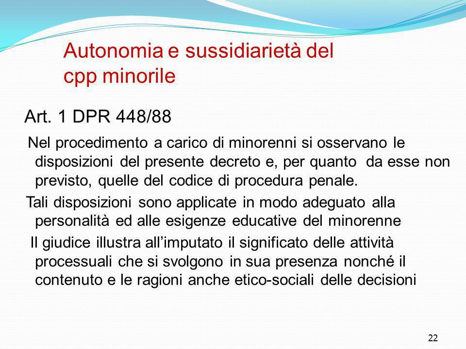 22 Autonomia e sussidiarietà del cpp minorile Art. 1 DPR 448/88 Nel procedimento a carico di minorenni si osservano le disposizioni del presente decre