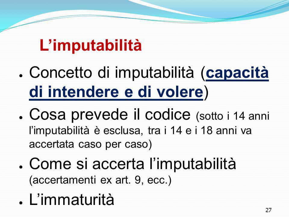 27 L'imputabilità ● Concetto di imputabilità (capacità di intendere e di volere) ● Cosa prevede il codice (sotto i 14 anni l'imputabilità è esclusa, t