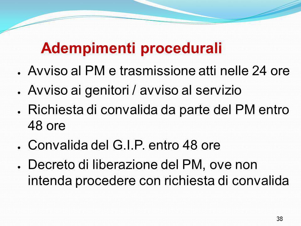 38 Adempimenti procedurali ● Avviso al PM e trasmissione atti nelle 24 ore ● Avviso ai genitori / avviso al servizio ● Richiesta di convalida da parte