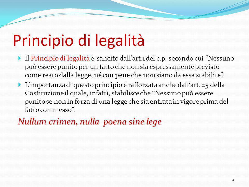 """Principio di legalità  Il Principio di legalità è sancito dall'art.1 del c.p. secondo cui """"Nessuno può essere punito per un fatto che non sia espress"""