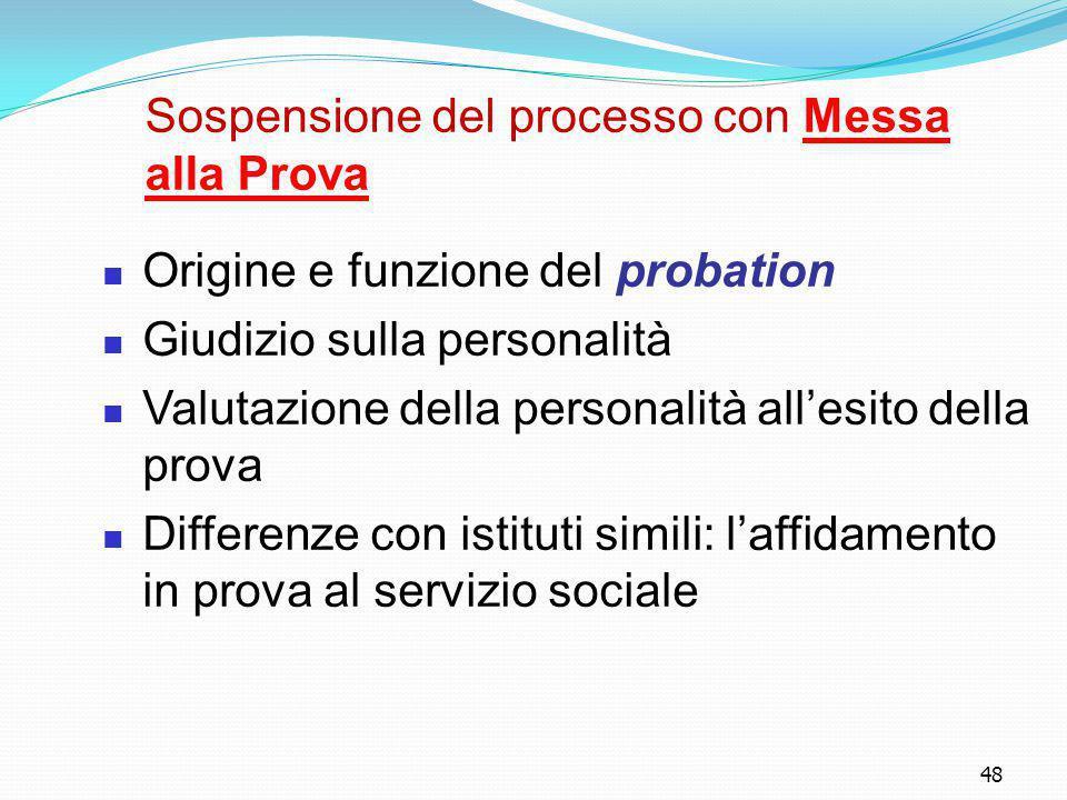 48 Sospensione del processo con Messa alla Prova Origine e funzione del probation Giudizio sulla personalità Valutazione della personalità all'esito d