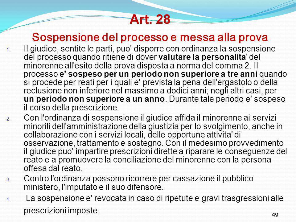 49 Art. 28 Sospensione del processo e messa alla prova 1. Il giudice, sentite le parti, puo' disporre con ordinanza la sospensione del processo quando