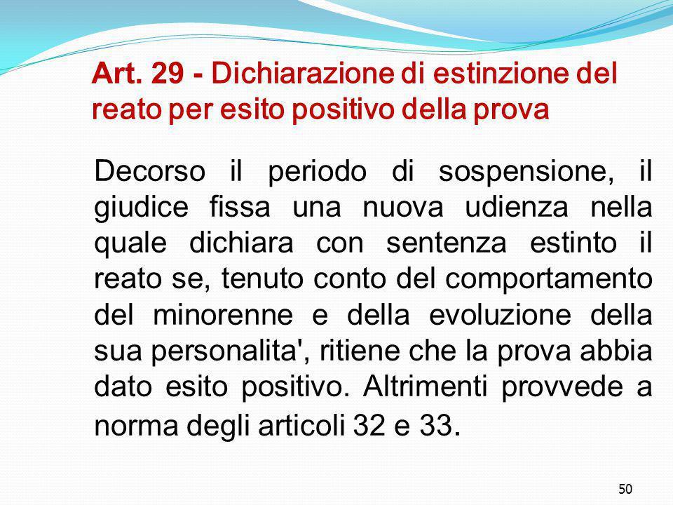 50 Art. 29 - Dichiarazione di estinzione del reato per esito positivo della prova Decorso il periodo di sospensione, il giudice fissa una nuova udienz