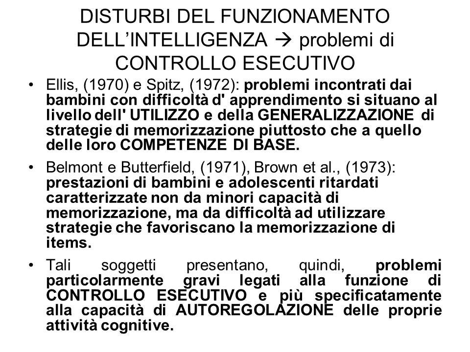 DISTURBI DEL FUNZIONAMENTO DELL'INTELLIGENZA  problemi di CONTROLLO ESECUTIVO Ellis, (1970) e Spitz, (1972): problemi incontrati dai bambini con diff