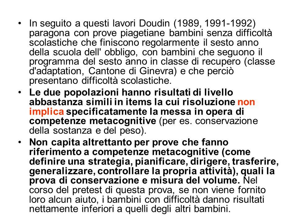 In seguito a questi lavori Doudin (1989, 1991-1992) paragona con prove piagetiane bambini senza difficoltà scolastiche che finiscono regolarmente il s