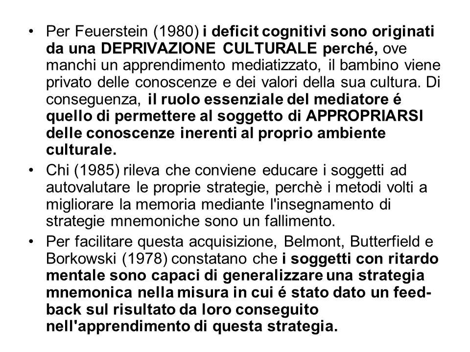 Per Feuerstein (1980) i deficit cognitivi sono originati da una DEPRIVAZIONE CULTURALE perché, ove manchi un apprendimento mediatizzato, il bambino vi