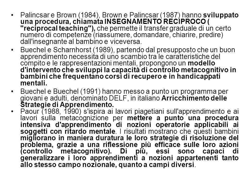 Palincsar e Brown (1984), Brown e Palincsar (1987) hanno sviluppato una procedura, chiamata INSEGNAMENTO RECIPROCO (