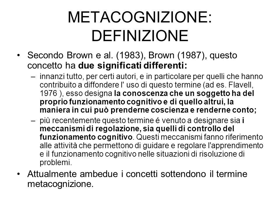 METACOGNIZIONE: DEFINIZIONE Secondo Brown e al. (1983), Brown (1987), questo concetto ha due significati differenti: –innanzi tutto, per certi autori,
