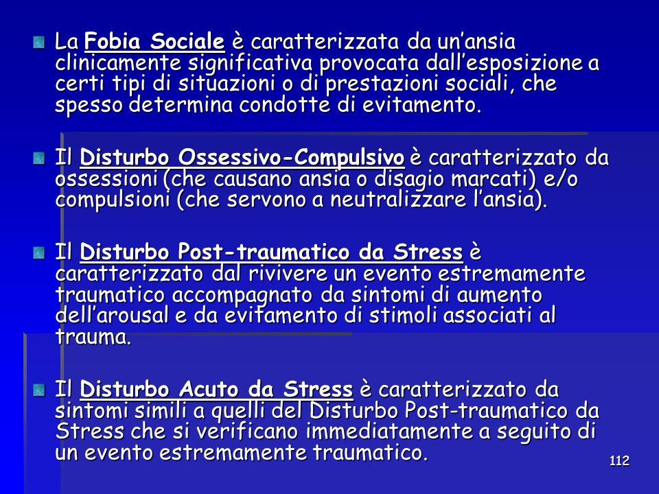 112 La Fobia Sociale è caratterizzata da un'ansia clinicamente significativa provocata dall'esposizione a certi tipi di situazioni o di prestazioni so