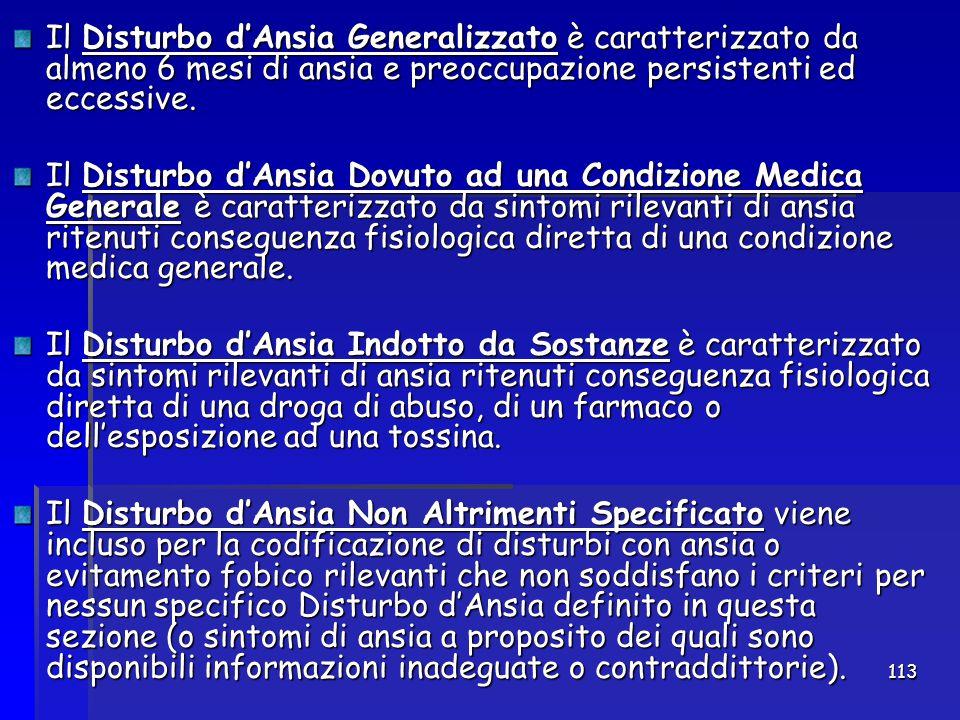 113 Il Disturbo d'Ansia Generalizzato è caratterizzato da almeno 6 mesi di ansia e preoccupazione persistenti ed eccessive. Il Disturbo d'Ansia Dovuto