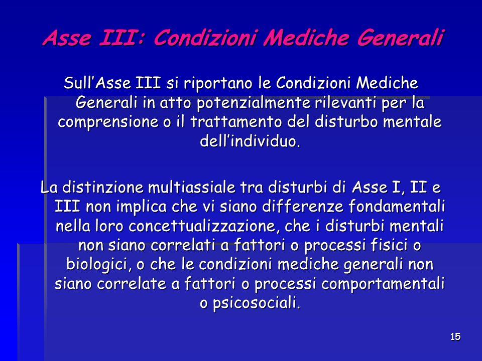 15 Asse III: Condizioni Mediche Generali Sull'Asse III si riportano le Condizioni Mediche Generali in atto potenzialmente rilevanti per la comprension