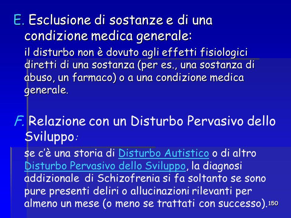 150 E. Esclusione di sostanze e di una condizione medica generale: il disturbo non è dovuto agli effetti fisiologici diretti di una sostanza (per es.,