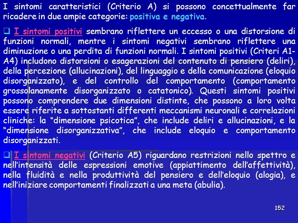 152 I sintomi caratteristici (Criterio A) si possono concettualmente far ricadere in due ampie categorie: positiva e negativa.  I sintomi positivi se