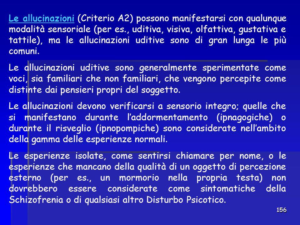 156 Le allucinazioni (Criterio A2) possono manifestarsi con qualunque modalità sensoriale (per es., uditiva, visiva, olfattiva, gustativa e tattile),
