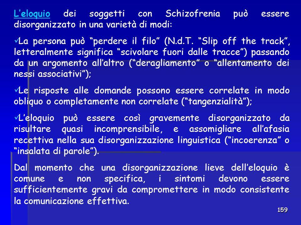 """159 L'eloquio dei soggetti con Schizofrenia può essere disorganizzato in una varietà di modi: La persona può """"perdere il filo"""" (N.d.T. """"Slip off the t"""