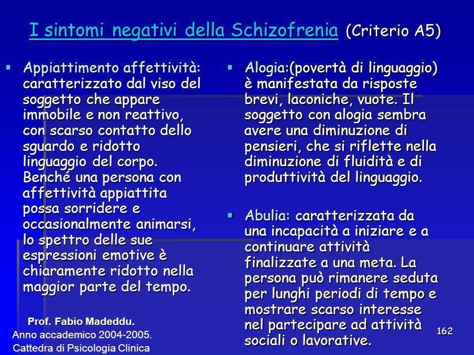 162 I sintomi negativi della Schizofrenia (Criterio A5)  Appiattimento affettività: caratterizzato dal viso del soggetto che appare immobile e non re