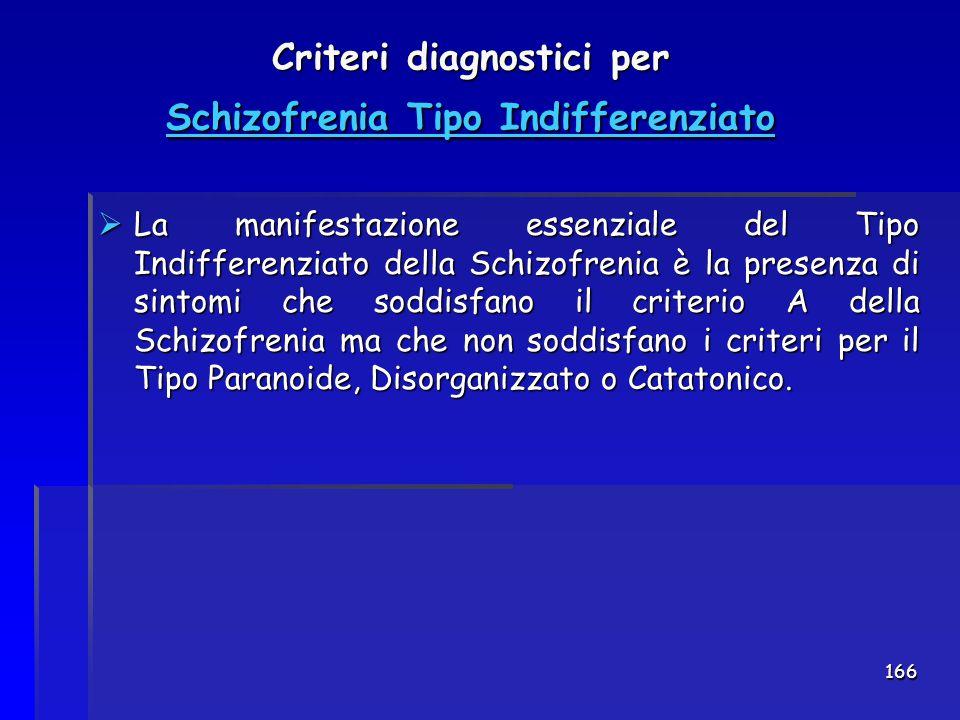 166 Criteri diagnostici per Schizofrenia Tipo Indifferenziato  La manifestazione essenziale del Tipo Indifferenziato della Schizofrenia è la presenza