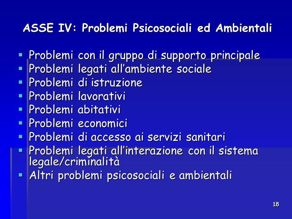 18 ASSE IV: Problemi Psicosociali ed Ambientali  Problemi con il gruppo di supporto principale  Problemi legati all'ambiente sociale  Problemi di i