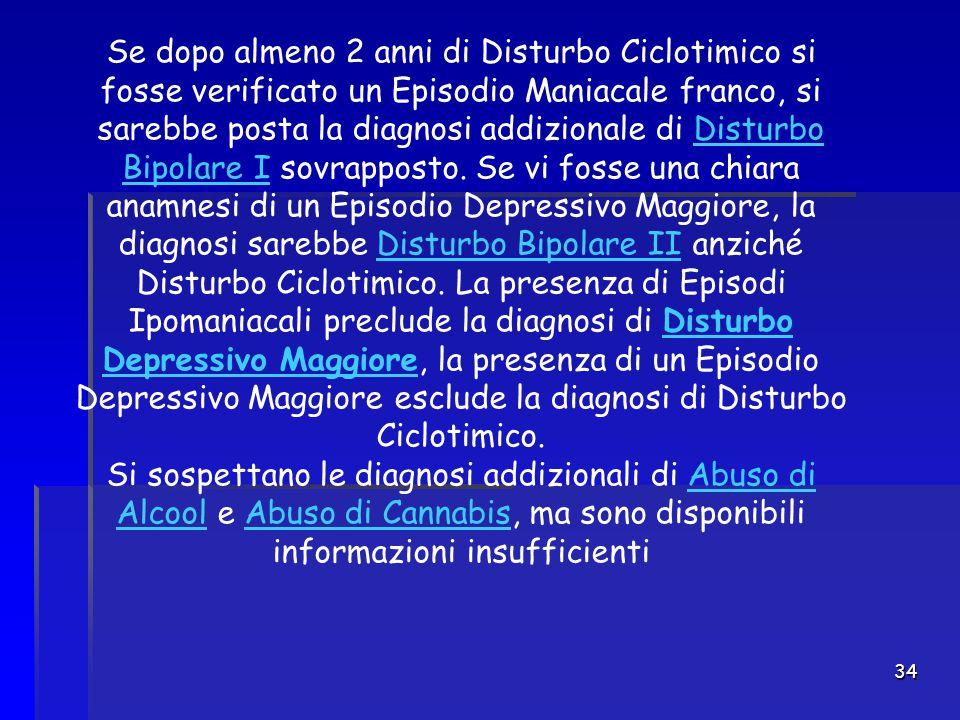 34 Se dopo almeno 2 anni di Disturbo Ciclotimico si fosse verificato un Episodio Maniacale franco, si sarebbe posta la diagnosi addizionale di Disturb