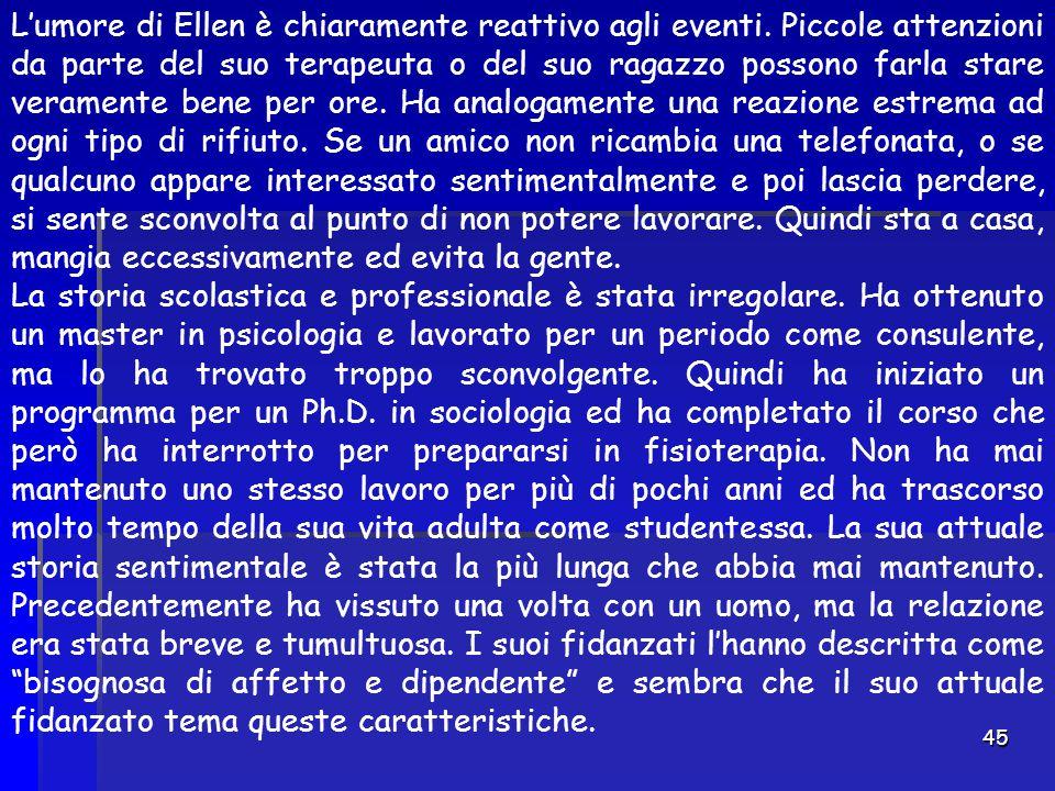 45 L'umore di Ellen è chiaramente reattivo agli eventi. Piccole attenzioni da parte del suo terapeuta o del suo ragazzo possono farla stare veramente