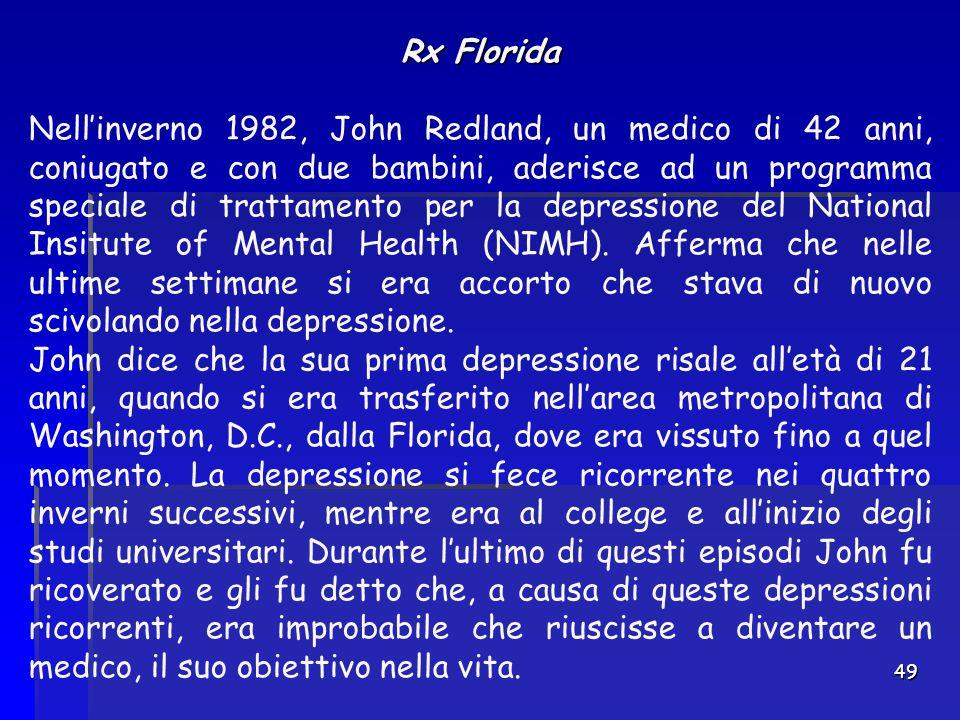 49 Rx Florida Nell'inverno 1982, John Redland, un medico di 42 anni, coniugato e con due bambini, aderisce ad un programma speciale di trattamento per