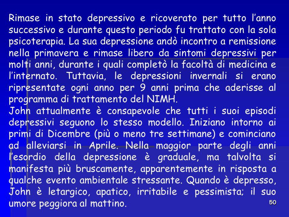 50 Rimase in stato depressivo e ricoverato per tutto l'anno successivo e durante questo periodo fu trattato con la sola psicoterapia. La sua depressio