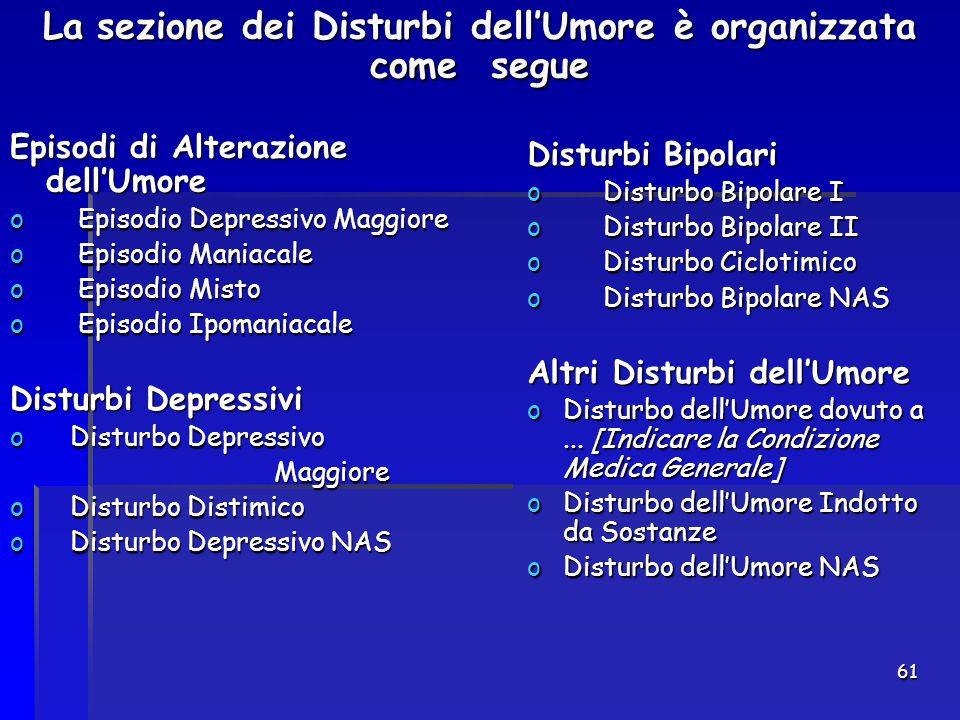 61 La sezione dei Disturbi dell'Umore è organizzata come segue Episodi di Alterazione dell'Umore Episodi di Alterazione dell'Umore o Episodio Depressi