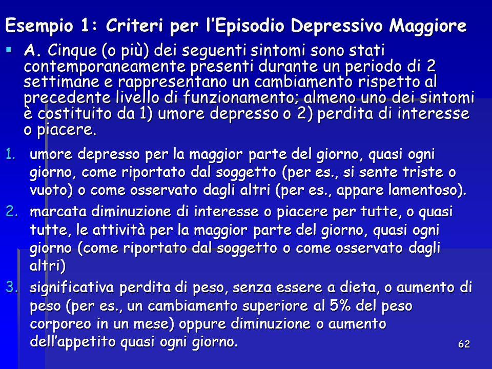 62 Esempio 1: Criteri per l'Episodio Depressivo Maggiore  A. Cinque (o più) dei seguenti sintomi sono stati contemporaneamente presenti durante un pe